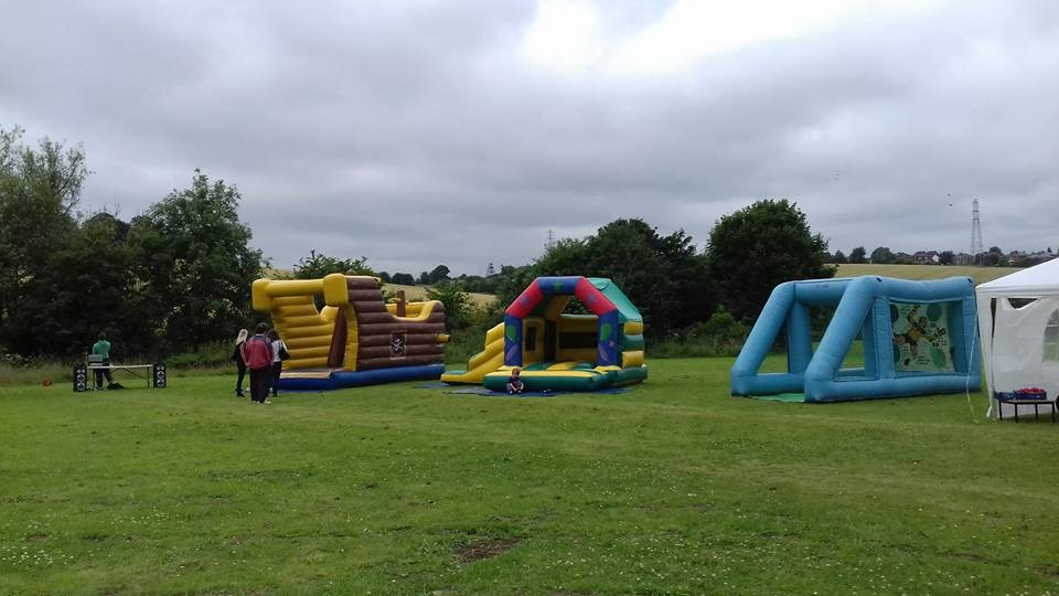 Setting up the event - bouncy castles